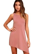 Women Casual Crew Neck Sleeveless Irregular Hem Dress Pink
