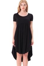 Women Crew Neck High Low Pleated Short Sleeve Smock Dress Black
