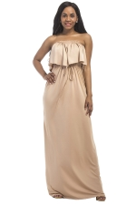 Women Sexy Plus Size Off Shoulder Draw String Maxi Dress Khaki