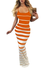 Women Sexy Strap Strips Printed Maxi Dress Orange