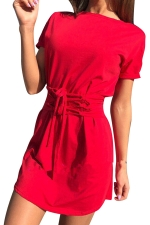 Women Fashion Crew Neck Cross Bandage Shirt Dress Red
