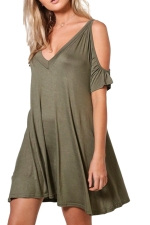 Women Casual Cold Shoulder V Neck Plain Shirt Dress Army Green