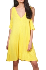 Women Casual Cold Shoulder V Neck Plain Shirt Dress Yellow