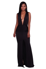 Women Sexy Deep V-Neck Pleated High Slit Club Wear Dress Black