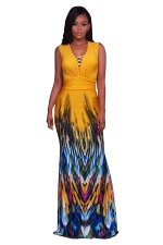 Women Sexy Printed Pleated Waist V Neck Fishtail Maxi Dress Yellow