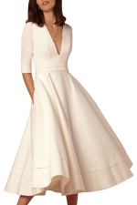 Women Elegant Plain V Neck Half Sleeve Evening Dress White