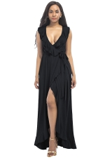 Women Plus Size Deep V Neck Ruffle Sleeveless Maxi Dress Black