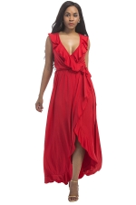Women Plus Size Deep V Neck Ruffle Sleeveless Maxi Dress Red