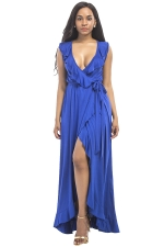 Women Plus Size Deep V Neck Ruffle Sleeveless Maxi Dress Sapphire Blue