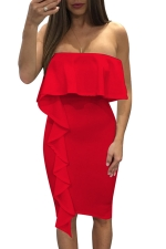 Women Sexy Ruffle Off Shoulder Bodycon Dress Red