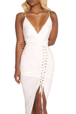 Women Sexy Deep V Neck Pleated Lace Up Club Wear Dress White