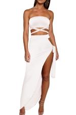 Women Sexy Bandage Bandeau Split Club Wear Dress  White