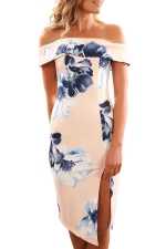 Women Elegant Off Shoulder Side Split Floral Printed Dress Pink