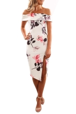 Women Elegant Off Shoulder Side Split Floral Printed Dress White