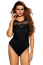 Women Sexy Lace Patchwork Open Back Bodysuit Black