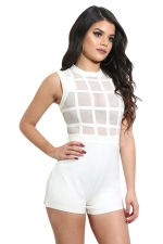 Women Sexy Mesh Patchwork See Through Zipper Romper White