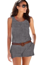Women Casual Pocket Crew Neck Romper Dark Gray