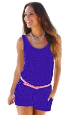 Women Casual Pocket Crew Neck Romper Sapphire Blue