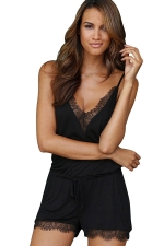 Women Sexy Deep V Neck Straps Lace Patchwork Draw String Romper Black