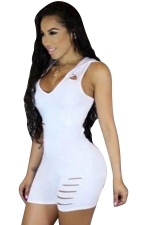 Women Sexy Hollow Out Back Hoodied Sleeveless Romper White