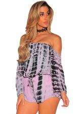 Women Off Shoulder Draw String Long Sleeve Printed Romper Pink