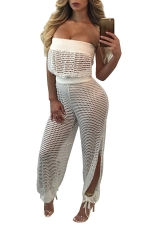 Women Sexy Side Slits Hollow Out Off Shoulder Jumpsuit White