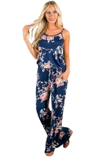 Women Casual Straps Draw String Floral Printed Jumpsuit Navy Blue
