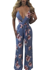 Women Sexy Deep V Neck Floral Printed Straps Draw String Jumpsuit Blue