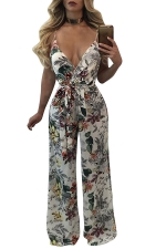 Women Sexy Deep V Neck Floral Printed Strap Draw String Jumpsuit White