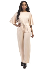 Women Elegant Plus Size Draw String High Waist Jumpsuit Apricot