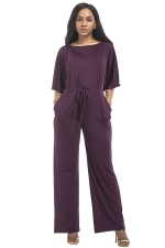 Women Elegant Plus Size Draw String High Waist Jumpsuit Purple