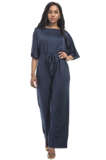 Women Elegant Plus Size Draw String High Waist Jumpsuit Navy Blue