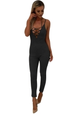 Women Sexy Strap Deep V Neck Lace Up Halter Zipper Jumpsuit Black
