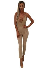 Women Sexy Strap Deep V Neck Lace Up Halter Zipper Jumpsuit Khaki