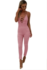Women Sexy Strap Deep V Neck Lace Up Halter Zipper Jumpsuit Pink
