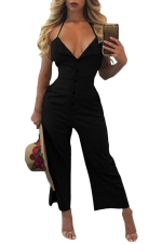 Women Sexy V Neck Backless Halter Wide Legs Jumpsuit Black