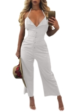 Women Sexy V Neck Backless Halter Wide Legs Jumpsuit White