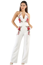 Women Sexy Halter Embroidered Open Back High Waist Jumpsuit White