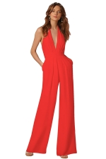 Women Sexy Halter Deep V-Neck High Waist Wide Legs Jumpsuit Red