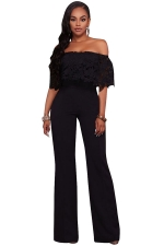 Women Sexy Off Shoulder Lace Ruffle Wide Leg Jumpsuit Black
