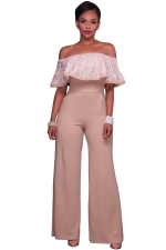 Women Sexy Off Shoulder Ruffle High Waist Wide Legs Jumpsuit Apricot