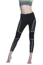 Women Fishnet Patchwork Slimming Sports Legging Green