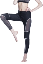 Women Fishnet Patchwork Slimming Sports Legging White