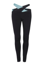 Women Cross Bandage Tight Sports Leggings Light Blue