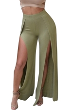 Women Sexy Plain Slits Wide Legs Club Wear Leggings Green
