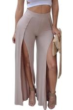 Women Sexy Plain Slits Wide Legs Club Wear Leggings Khaki