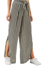 Women Casual Side Split Elastic Waist Wide Legs Pants Black And White