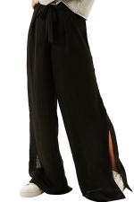 Women Casual Side Split Elastic Waist Wide Legs Pants Black