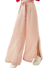 Women Casual Side Split Elastic Waist Wide Legs Pants Pink