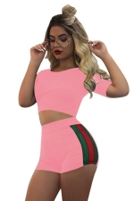 Women Striped Short Sleeve Crop Top & Shorts Sports Suit Pink